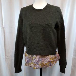 J.Crew wool sweater with fabric trim bottom  S